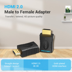 Vention HDMI Male to Female Adapter Straight design extend /Protect /HDMI 2.0 4K 3D/ Gold -plated HDMI interface-AIAB0