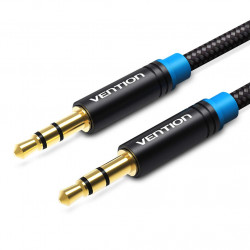 Vention Cotton Braided 3.5mm Male to Male Audio Cable 2M Black Metal Type