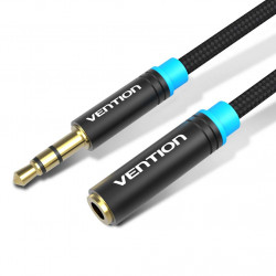 Vention 3.5mm Stereo Male to Female Headset Extension Cable Cotton Braided Stereo Jack Cord (1.5M, Black)