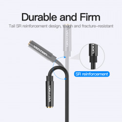 Vention 2*3.5mm Male to 4 Pole 3.5mm Female Audio Cable 0.3M Black ABS Type