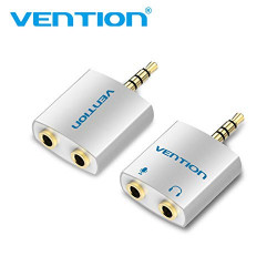 Vention 4 Pole 3.5mm Male to 2 * 3.5mm Female Audio Splitter with Separated Audio and Microphone Port Sliver