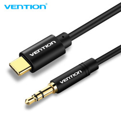 Vention Type-C to 3.5mm Male Spring Audio Cable 1.5M Black Metal Type