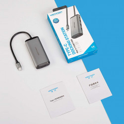 Vention USB C Hub Adapter,5 in 1 Aluminum Type C HUB to 4K HDMI Port,with 3 USB 3.0 Ports,87W Power Deliver(PD)