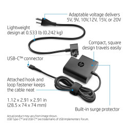 HP USB-C 65W Travel Power Adapter (Black)