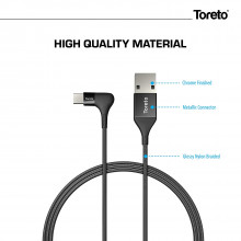 Toreto Unbreakable Braided Charging Data Cable 1 Meter for Type C (Elite-3, TOR-838)