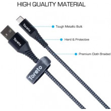 Toreto TOR-823 1 m USB Type C Cable  (Compatible with All Phones With Type C port, Silver, Black, One Cable)