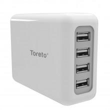 Toreto Unicharge 4.8A Desktop USB Turbo Charger Hub (White, TOR-504)