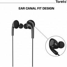 Toreto TOR-275 Wired Headset  (Black, In the Ear)