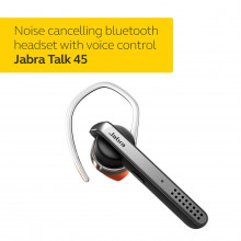 Jabra Talk 45 Bluetooth Headset for High Definition Hands-Free Calls with Dual Mic Noise Cancellation