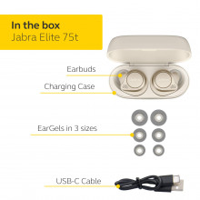 Jabra Elite 75t True Wireless Bluetooth Earbuds, 28 Hours Battery, Voice Assistant Enabled, Gold Beige