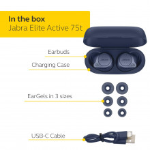 Jabra Elite Active 75t True Wireless Bluetooth Sports Earbuds, 28 Hours Battery, Voice Assistant Enabled, Navy