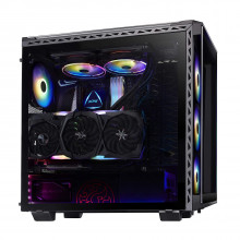 XPG BattleCruiser PC Case with 4*ARGB Combo Controller Fans and 4-Side Tempered Glass Panels (Black)