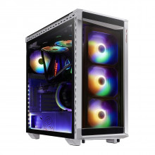 XPG Battle Cruiser PC Case with 4*ARGB Combo Controller Fans and 4-Side Tempered Glass Panels (White)