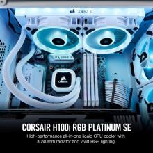 Corsair H100i RGB Platinum SE 240MM RADIATOR, DUAL 120MM LL SERIES PWM FANS, RGB LIGHTING WITH SOFTWARE, LIQUID CPU COOLER