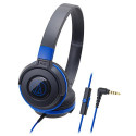 Audio-Technica Street Monitoring ATH-S100iSBBL Portable Headphone for Smartphone (Black/Blue)