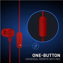 JBL T50HI by Harman in-Ear Wired Headphone with Noise Isolation Mic (Red)