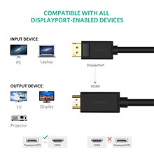 UGREEN 4K UHD Displayport to HDMI Cable Uni-Directional Video Display Cord for HDTV Monitor Projector PC 10 Ft