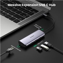 UGREEN USB C Hub Type C to 3 Port USB 3.0 Dock with Gigabit Ethernet Adapter Micro USB Power