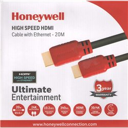 Honeywell HC000007/HDM/20M 20 Meter HDMI Cable with Ethernet (Black/Red)