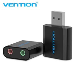 Vention External USB Sound Card (3.5mm)| USB to Audio Jack Converter | Audio Jack Splitter | Earphone Splitter Cable Adapter |