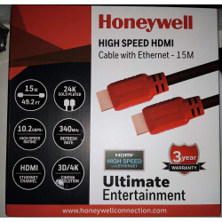 Honeywell15 Meter HDMI Cable with Ethernet (Black/Red)  HC000011/HDM/15M