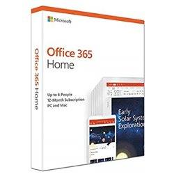 Microsoft Office 365 Home for 6 users (Windows/Mac Laptop + tablet) for 12 month/1 Year - (Activation Key Card)