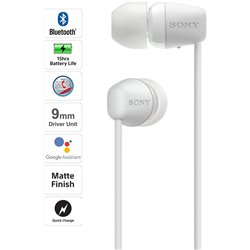 Sony WI-C200 Wireless Neck-Band Headphones with up to 15 Hours of Battery Life – White