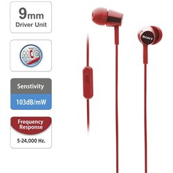 Sony MDR-EX155AP in-Ear Headphones with Mic (Red)