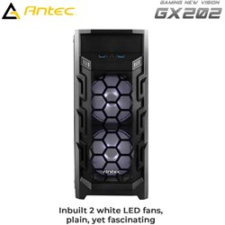 Antec GX202 Mid Tower Gaming Cabinet Support ATX, M-ATX, ITX Motherboard with 3 x 120mm Fans (2 x White LED )