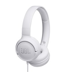 JBL Tune 500 Powerful Bass On-Ear Headphones with Mic (White)