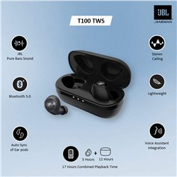 JBL T100TWS True Wireless in-Ear Headphones with 17 Hours Playtime, Stereo Calls & Bluetooth 5.0 (Black)