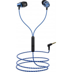 boAt BassHeads 182 with HD Sound, in-line mic, Dual ToneSecure Braided Cable & 3.5mm Angled Jack Wired Earphones (Blue)