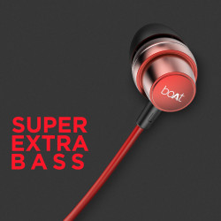 boAt BassHeads 182 with HD Sound, in-line mic, Dual Tone Secure Braided Cable & 3.5mm Angled Jack Wired Earphones (Red)